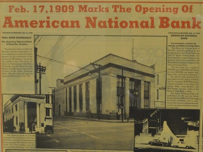 Vintage newspaper announcing opening of bank